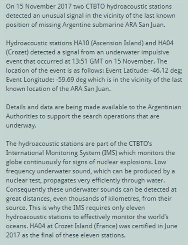 El comunicado del CTBTO sobre la aparición de la señal hidroacústica