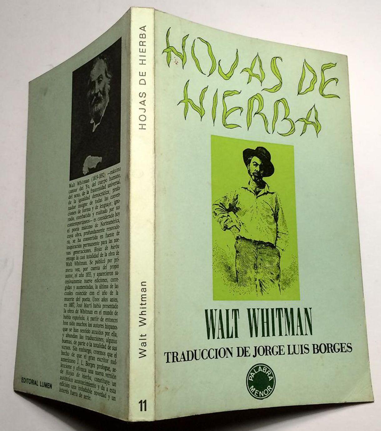 """""""hojas de hierba"""" de Walt Whitman con traducción de Jorge Luis Borges"""