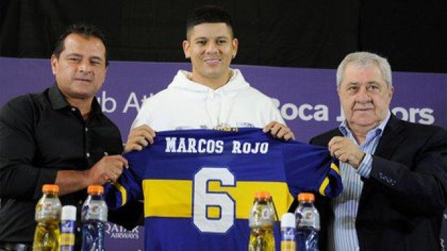 Marcos Rojo en su presentación junto a Marcelo Delgado y Jorge Amor Ameal (Foto Baires)