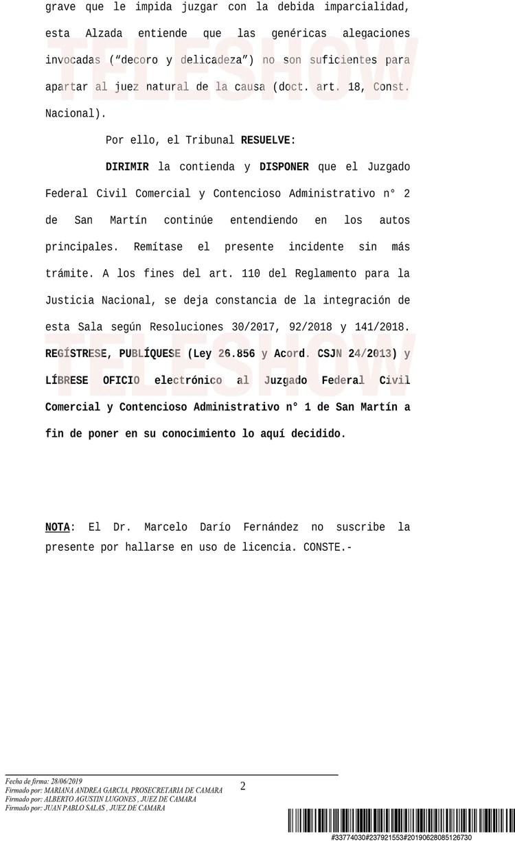 Segunda parte de la resolución de la Cámara Federal de San Martín