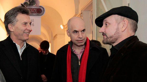 Macri con Rodríguez Larreta y Campanella, director de una de sus películas favoritas (NA/Nahuel Padrevecchi).