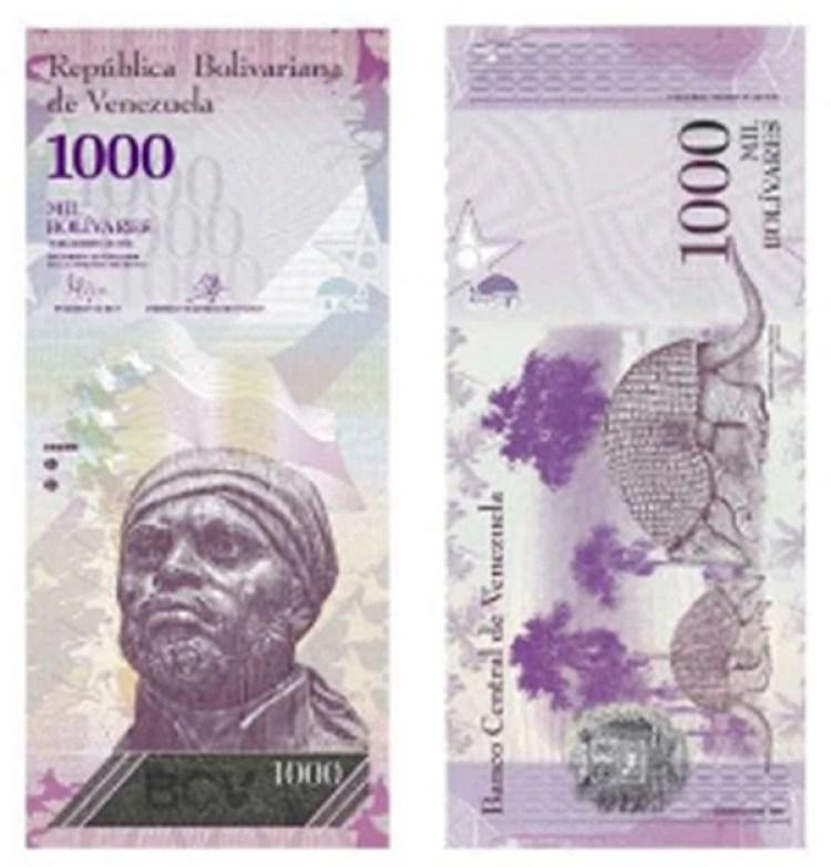 El billete de 1000 bolívares