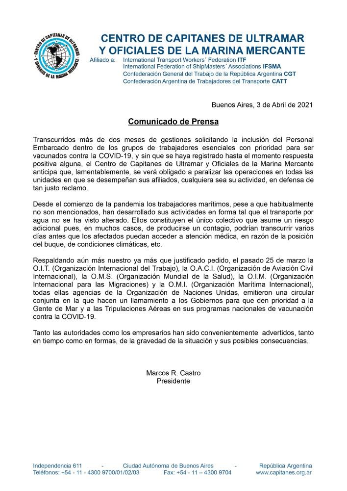 Comunicado de prensa Centro de Capitanes de Ultramar