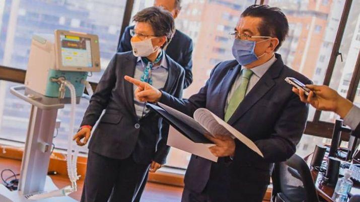 Alcaldesa de Bogotá, Claudia López y el ministros de salud, Fernando Ruiz.