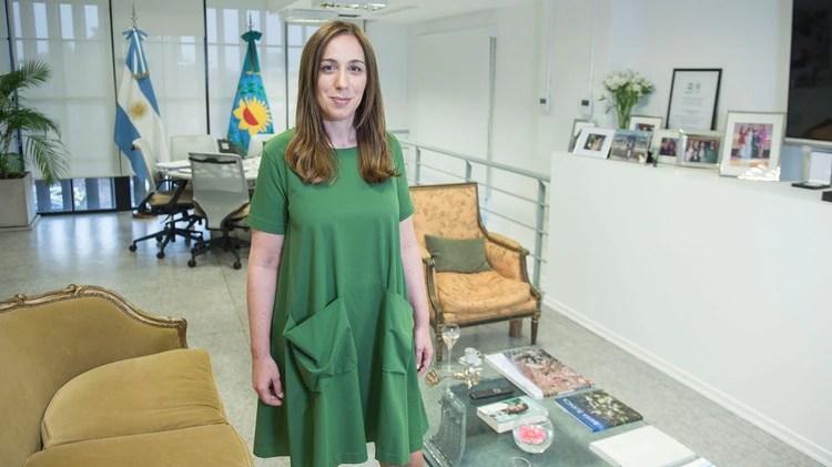 María Eugenia Vidal en sus nuevas oficinas de Retiro, sobre la avenida Libertador