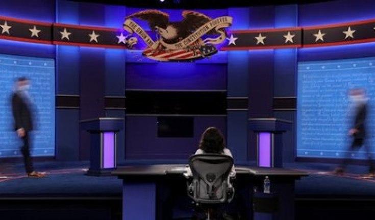 Escenario del segundo y último debate presidencial. Foto: REUTERS/Jonathan Ernst