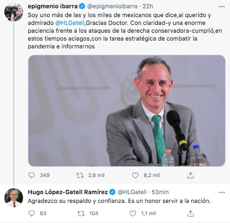 El productor Epigmenio Ibarra agradeció a López-Gatell por combatir la pandemia de coronavirus (Foto: Twitter@epigmenioibarra)