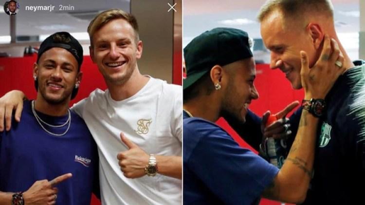 Los saludos de Neymar con Rakitic y Ter Stegen
