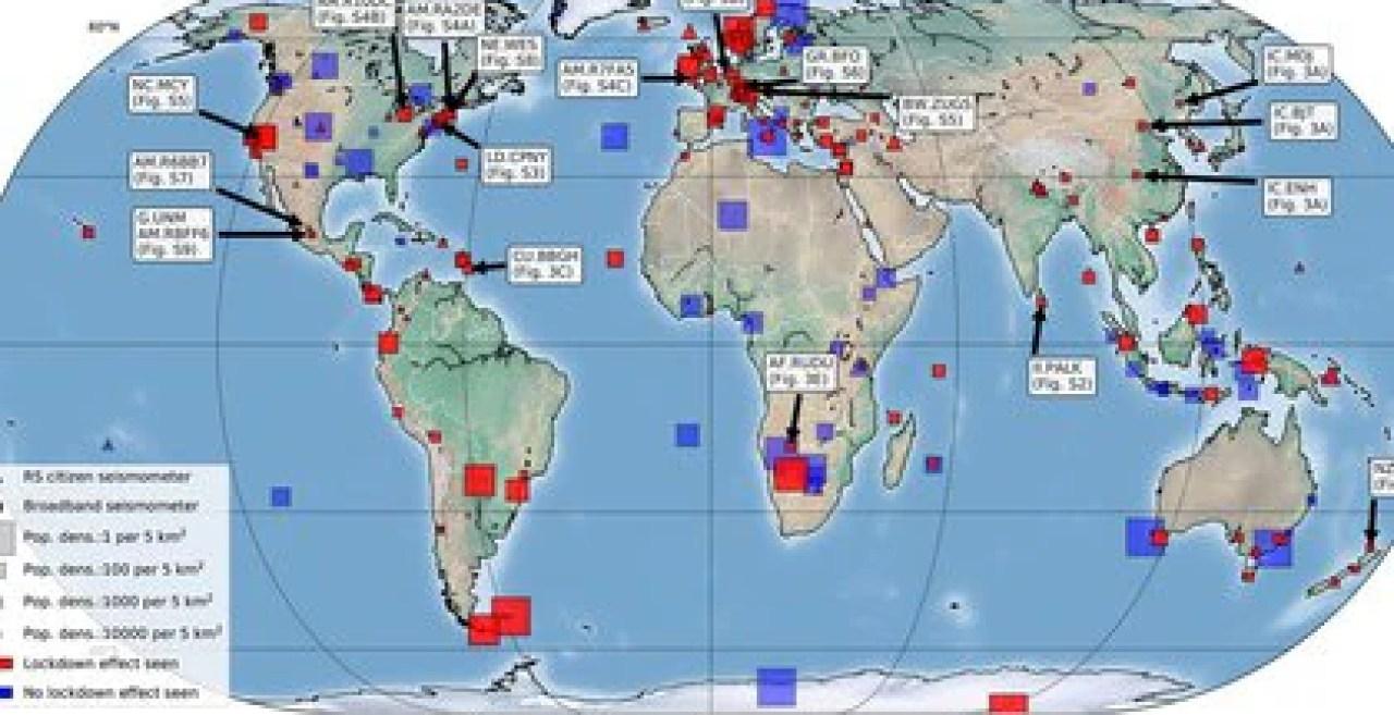 Las zonas marcadas en rojo son aquellas donde se vieron cambios en los ruidos sísmicos tras las medidas de restricción implementadas. Los lugares marcados en azul son aquellos donde no se vieron cambios en ese sentido.