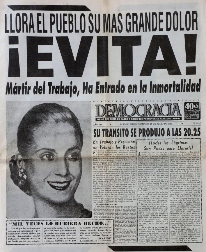 Todos los medios se hicieron eco de la muerte de Eva Perón. La hora oficial de su deceso fue a las 20.25 del 26 de julio.