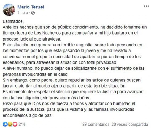 El comunicado de Mario Teruel