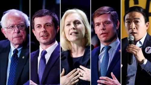 Bernie Sanders, Pete Buttigieg, Kirsten Gillibrand, Eric Swalwell y Andrew Yang.