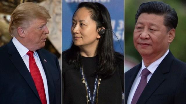 Donald Trump, Meng Wanzhou, vicepresidenta y directora financiera de Huawei, y Xi Jinping