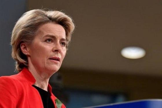 FILE PHOTO: Ursula von der Leyen, President of the European Commission on March 17, 2021 (John Thys)