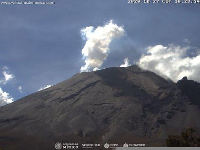 Imagen del Popocatépetl durante la mañana del 27 de octubre de 2020 (Foto: cenapred.unam.mx)