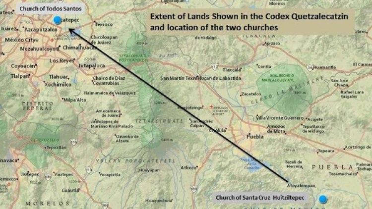 Algunas zonas que ilustra el Códice Quetzalecatzin se pueden reconocer hoy (LOC)
