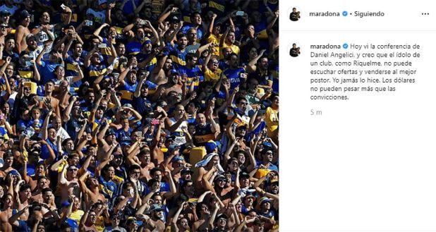 El posteo de Maradona contra Riquelme que Pergolini criticó