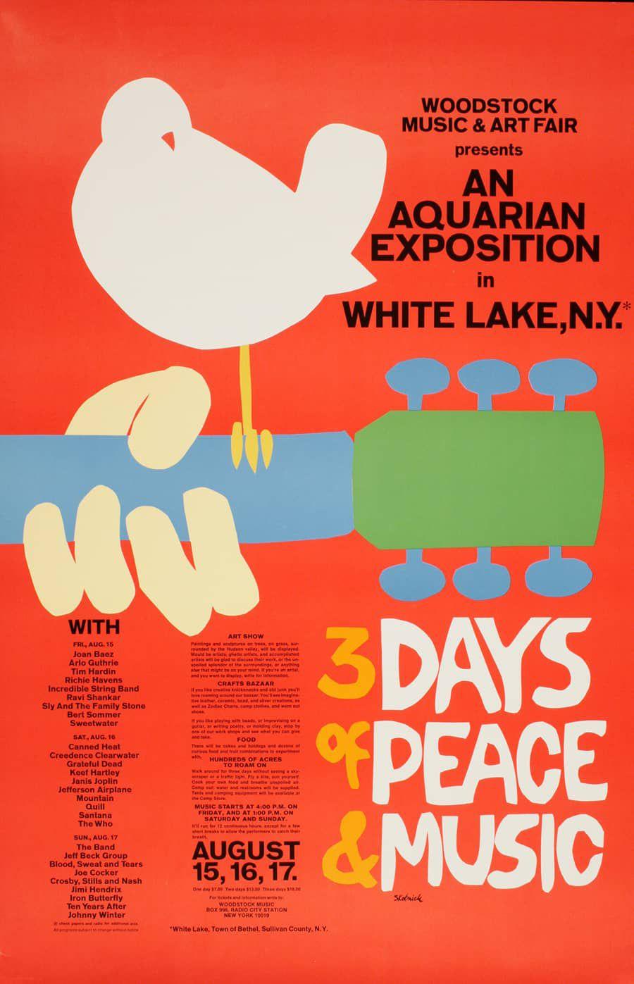 """La imagen ya es icónica. El brazo de una guitarra, un pájaro posado sobre ella, los colores vivos, el anuncio de los """"3 días de Paz y Música"""" ocupando gran parte del espacio, los artistas en letra muy pequeña"""