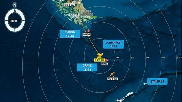 La última posición e información que se tiene del C-130 desaparecido (Twitter Fuerza Aérea de Chile)