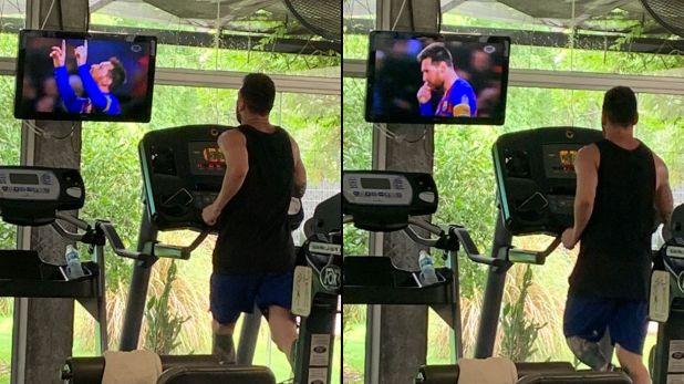 Las imágenes virales de Lionel Messi en el gimnasio (@valenjure1)