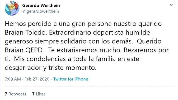La confirmación de la muerte de Braian Toledo de parte de Gerardo Werthein, presidente del COA