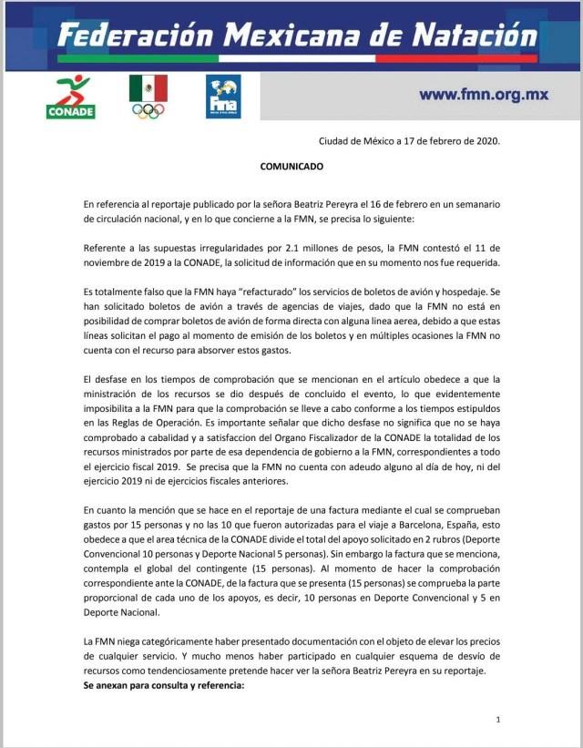 La Federación Mexicana de Natación dio a conocer su postura sobre la investigación de la SFP (Foto: Twitter@FemexNatacion)