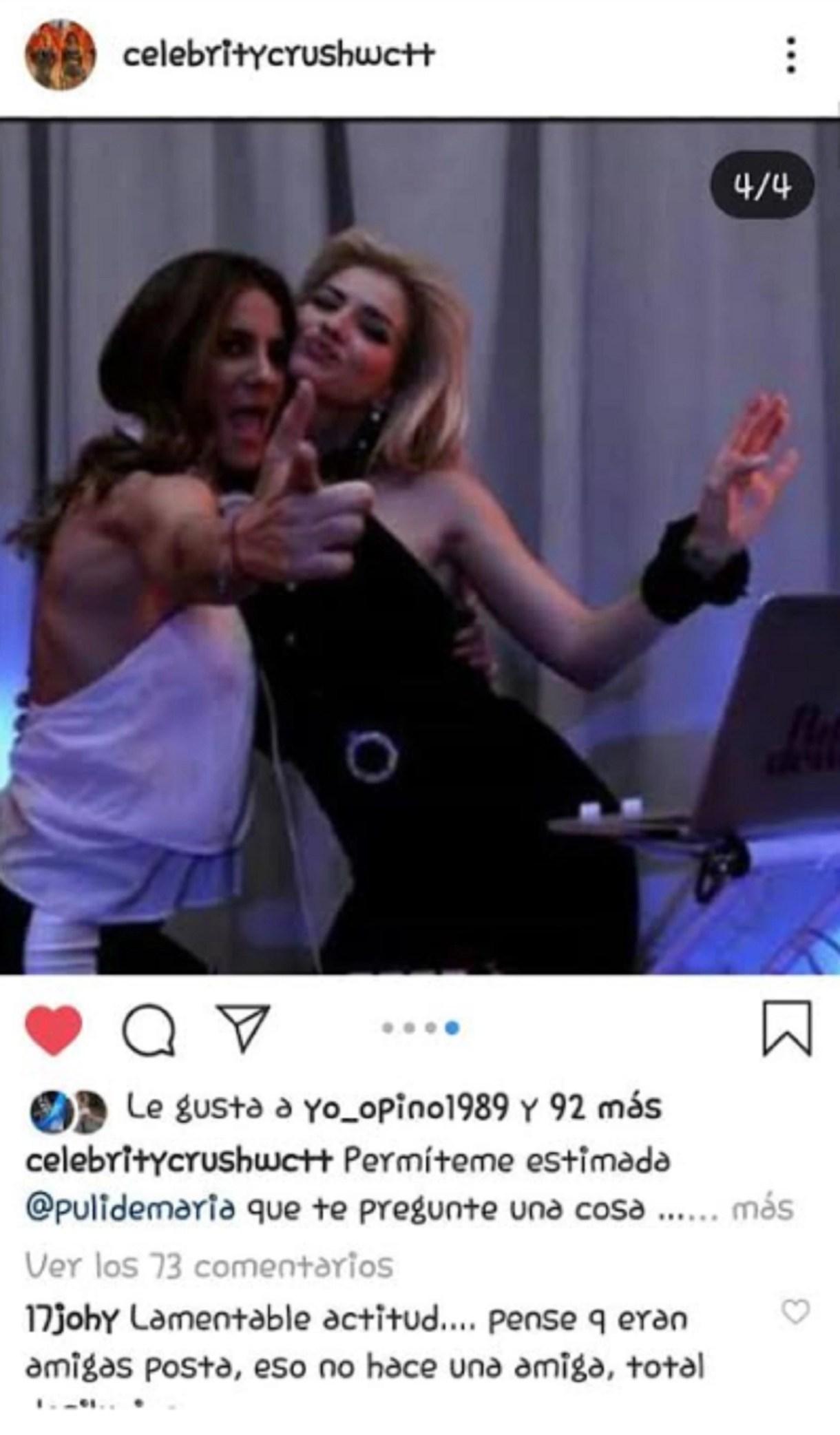 La foto que provocó una impensada pelea entre La China Suárez y Puli Demaría, una de las mejores amigas de Pampita