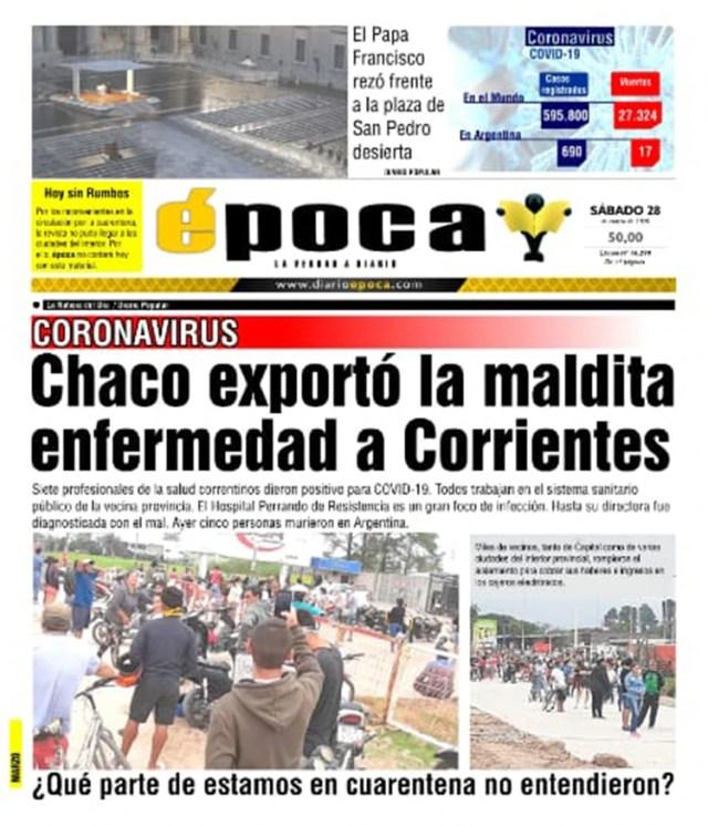 La portada del diario correntino
