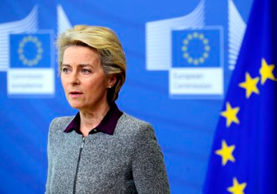 La presidenta de la Comisión Europea, Ursula von der Leyen. (Francois Walschaerts, Pool Via AP)