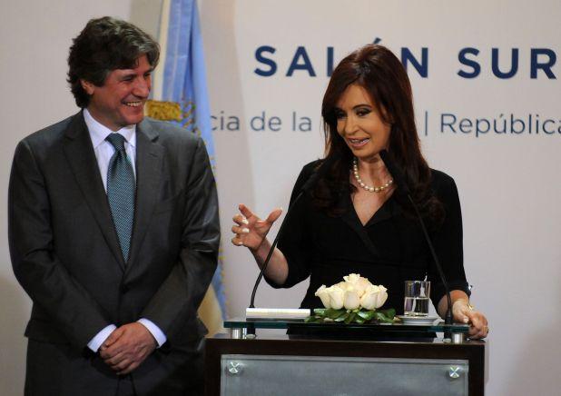 Cristina Kirchner junto a Amado Boudou, cuando el segundo era ministro de Economia. (FOTO NA: Daniel Vides)