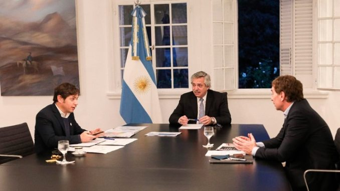 Alberto Fernández, Axel Kicillof y Diego Santilli