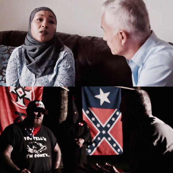 Los viajes por pueblos de los Estados Unidos llevaron a Ramos a reunirse con musulmanes víctimas de crímenes de odio racial y miembros de agrupaciones neo-Nazi