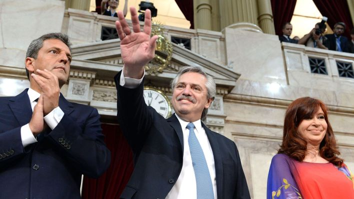 Alberto Fernández, Cristina Fernández de Kirchner y Sergio Massa en la apertura de las sesiones ordinarias del Congreso. (Presidencia)