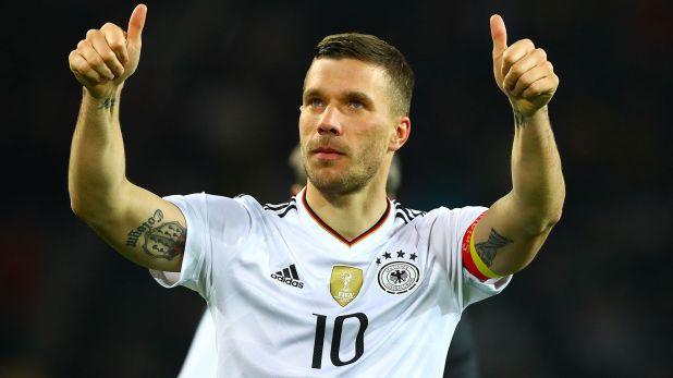 Podolski, de 34 años, jugó tres Mundiales para Alemania. En el de 2006 fue elegido el mejor jugador joven (Kieran Mcmanus/BPI/Shutterstock)