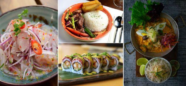 Ceviche clásico (La Mar), Lomo Saltado (La Causa Nikkei), la propuesta de sushi fusión (Osaka) y ají de gallina (Sipán)