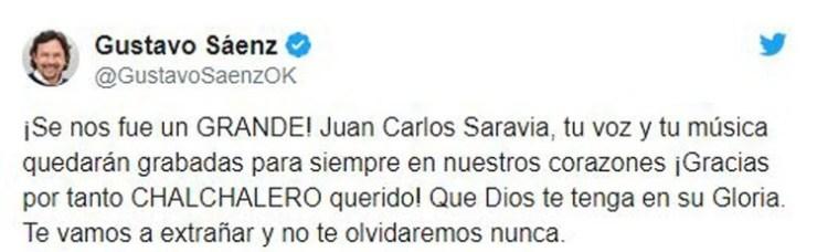 El mensaje de Gustavo Sáenz (Foto: Twitter)