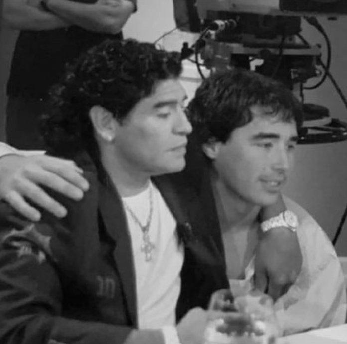 Nacho Viale, hugging Maradona