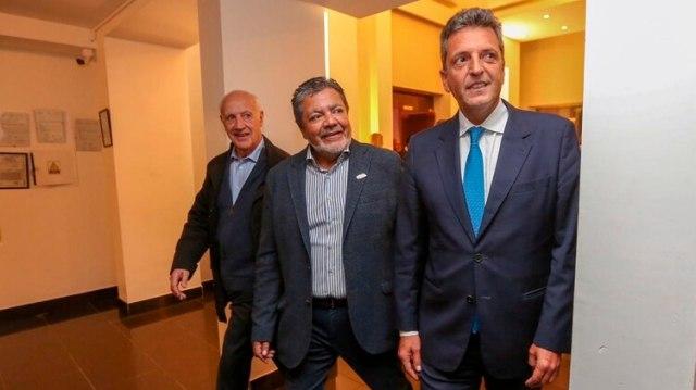 Massa y Lavagna junto al titular del gremio de la Construcción, Gerardo Martínez