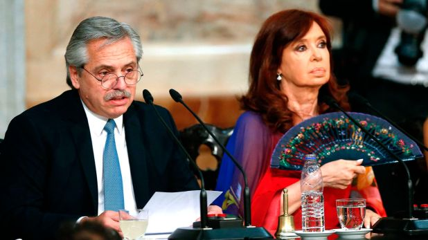 Alberto Fernández y Cristina Kirchner, durante la Asamblea Legislativa de este domingo