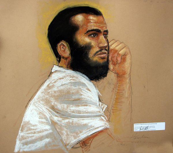 Un retrato durante una audiencia en la base de Guantánamo, en 2010 (Janet Hamlin – AP)