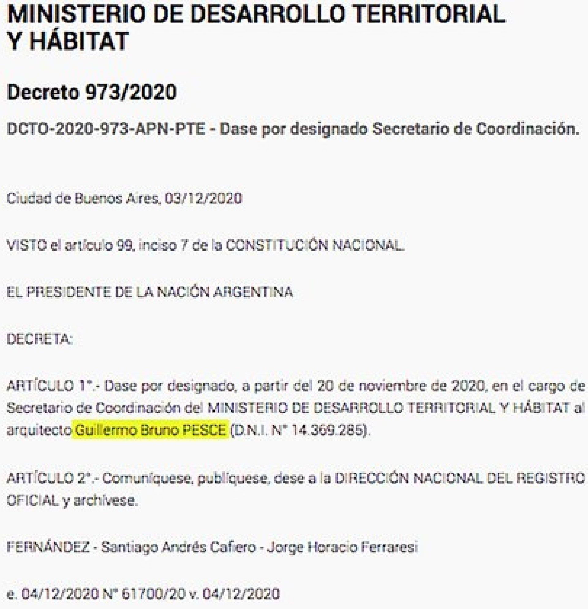 El decreto firmado por Ferraresi y Santiago Cafiero que designó como secretario de Coordinación del Ministerio a quien fuera el socio del ministro en SAEK SRL.