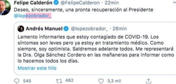 Felipe Calderón deseó pronta recuperación por COVID-19 a AMLO (Foto: Twitter)