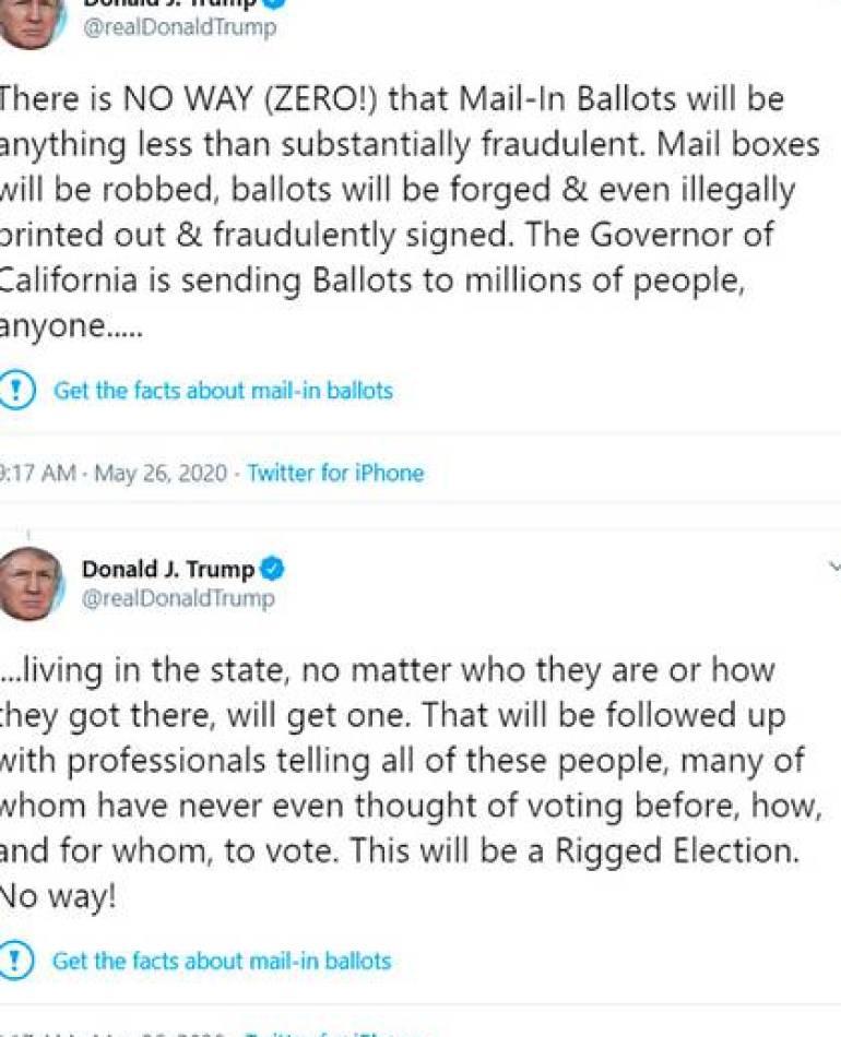 """""""Obtenga los datos sobre el voto por correo"""", marcó Twitter en los dos comentarios de Trump"""