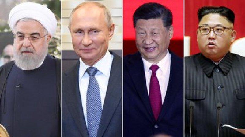 Hassan Rohani, presidente de Irán; Vladimir Putin, de Rusia; Xi Jinping, de China; y Kim Jong-un, dictador de Corea del Norte
