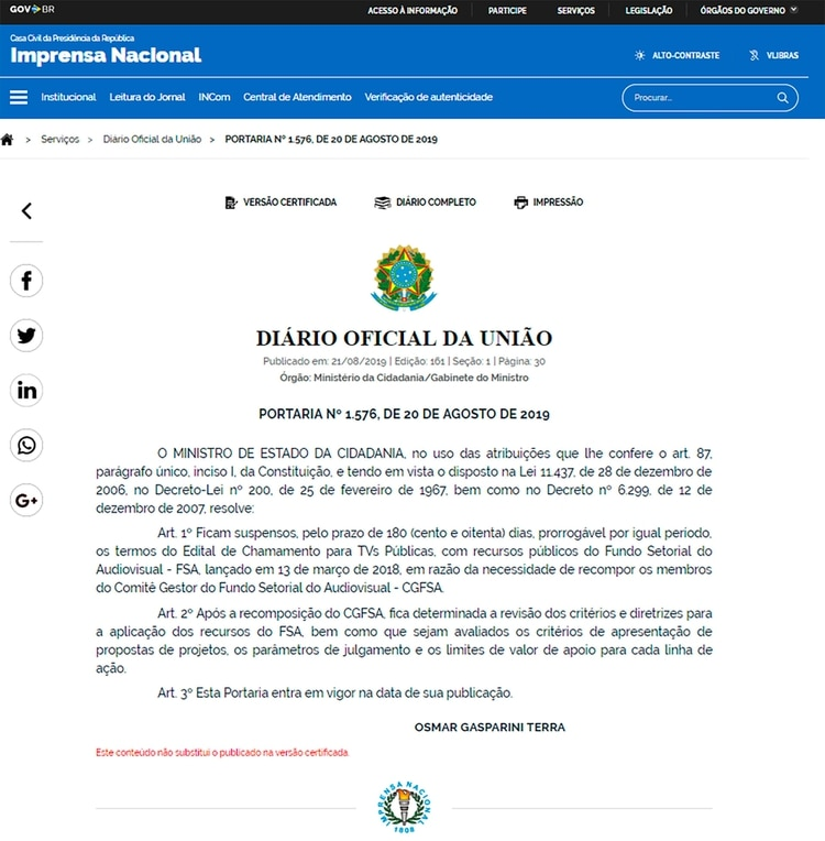 La comunicación oficial de la decisión del gobierno de Jair Bolsonaro de suspender los concursos de las producciones LGBT