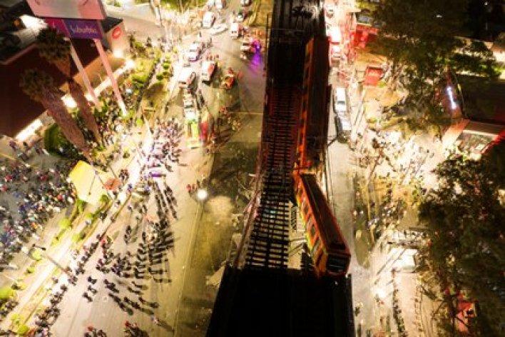 Una vista general de los daños causados por el accidente de metro en la Ciudad de México, 4 de mayo de 2021 (Fotografía tomada con un drone, Instagram: @csdrones/ vía Reuters)