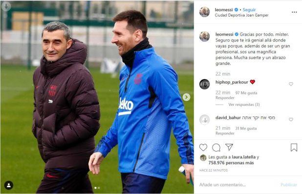 El posteo que le dedicó Lionel Messi a Ernesto Valverde