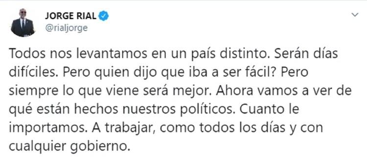 El tuit de Jorge Rial, a primera hora de este lunes