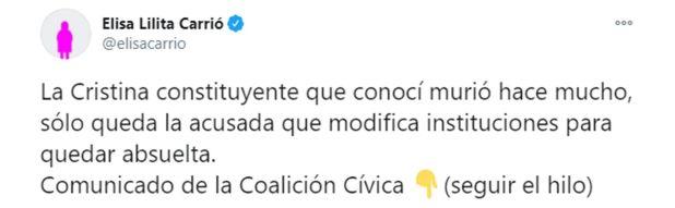 tuit Carrio sobre Cristina Kirchner y reforma judicial