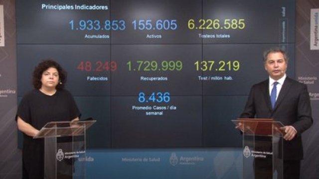 Vizzotti es la encargada de comunicar el reporte diario matutino, junto al subsecretario de Estrategias Sanitarias, Alejandro Costa